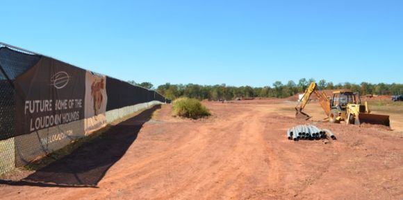 Bustling construction activity last week at the Loudoun Hounds stadium. (Source: